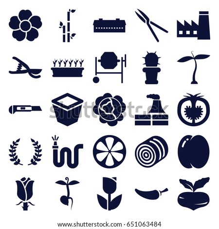 Plant icons set. set of 25 plant filled icons such as plant, barn, hay, peach, beet, cabbage, factory, bamboo, concrete mixer, pepper, garden tools, cutter, water hose, rose