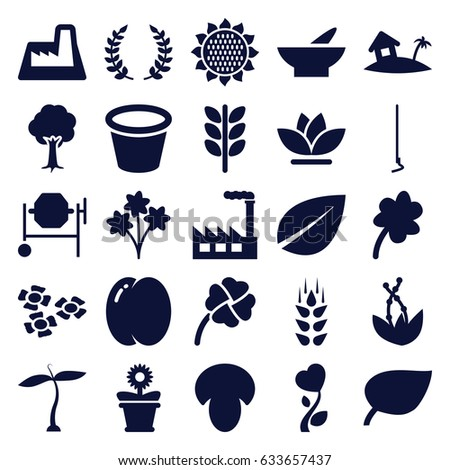 Plant icons set. set of 25 plant filled icons such as wheat, plant, mushroom, peach, sunflower, bowl, leaf, clover, concrete mixer, hoe, pot for plants, flower pot, flower