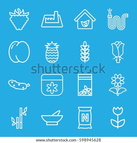 plant icons set. Set of 16 plant outline icons such as peach, bowl, flower, bamboo, cucumber, water hose, raspberry, rose, bag with ground, seed bag, factory, eco house