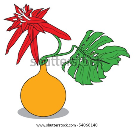 plant in a vase - stock vector