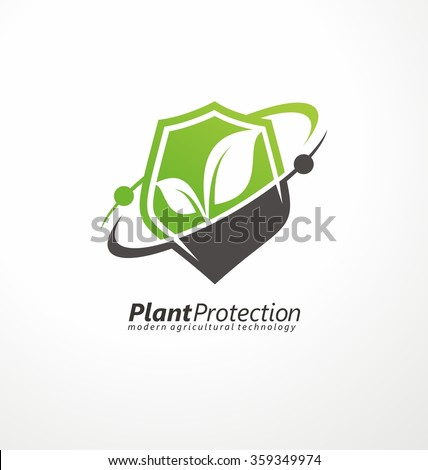 Plant protection creative symbol concept. Modern agricultural technology logo design template. Shield shape with plant in negative space logo layout. - stock vector