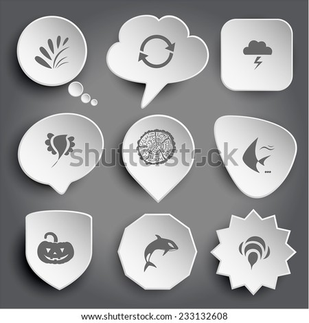 plant, recycle symbol, thunderstorm, bird, cut of tree, fish, pumpkin, killer whale, bee. White vector buttons on gray. - stock vector