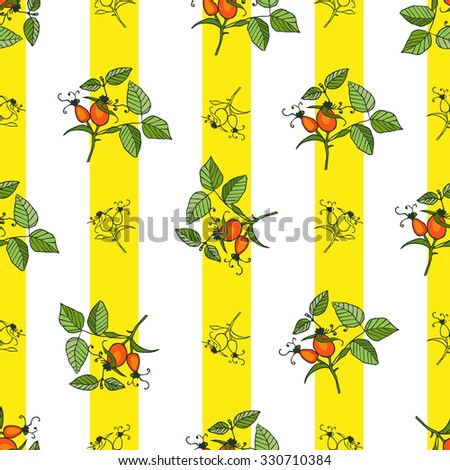 Plant rosehip seamless pattern with yellow stripes on white background. Can be used  for wallpaper, printed decoration in kitchen