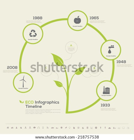 Plant Timeline Infographic. Green eco bio template design. Vector illustration - stock vector