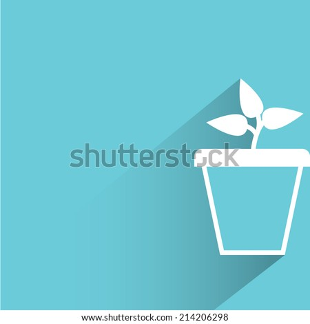 plant, tree pot on blue background - stock vector