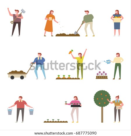 Planting people vector illustration flat design