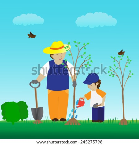 Planting young tree with family in the garden. Nature landscape. Father and his son connect with nature. - stock vector