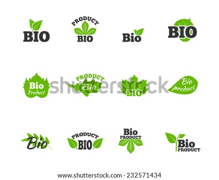 Plants and trees green leaves natural ecosphere bio products labels pictograms collection flat abstract isolated vector illustration - stock vector