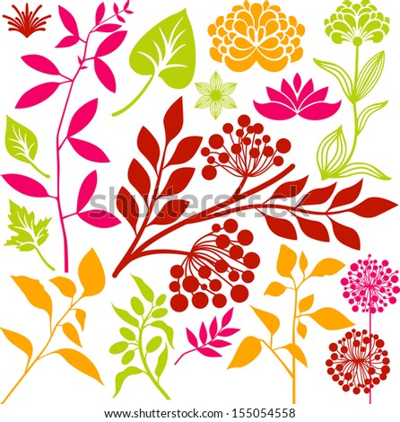 Plants collection - stock vector