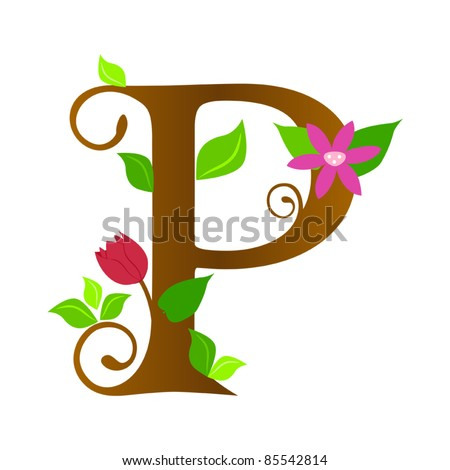Vector flower font letter stock photos illustrations and vector