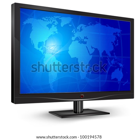Plasma, lcd tv with world map on blue screen, vector illustration - stock vector