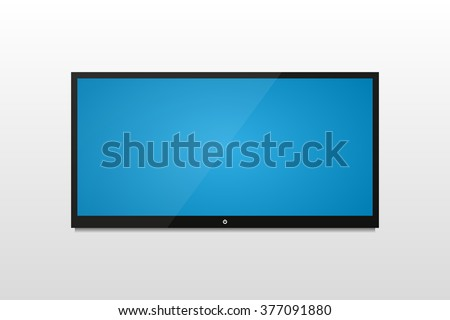 Plasma  TV on a white wall with shadow and blue screen - stock vector