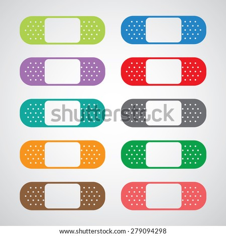 Plaster icon set on gray background  - stock vector