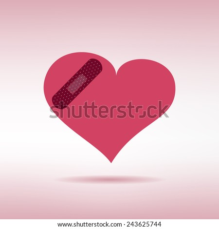 Plaster patched heart icon. Love wound concept. Vector illustration - stock vector