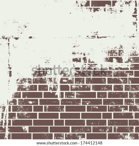 Plastered brick wall. Vector background