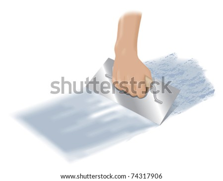 Plastering or laying cement with a float - stock vector
