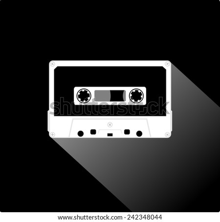 Plastic audio compact cassette tape - web icon. white color music tape. old technology concept, retro style, flat and shadow theme design, vector art image illustration, isolated on black background - stock vector