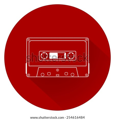 Plastic audio compact cassette tape - web icon. white outline music tape. old technology concept, retro style, flat and shadow theme design, vector art image illustration, isolated on red background - stock vector