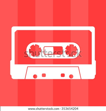 Plastic audio compact cassette tape - web icon. white outline transparent music tape. old technology concept, retro style, flat theme design, vector art image illustration, isolated on red background - stock vector