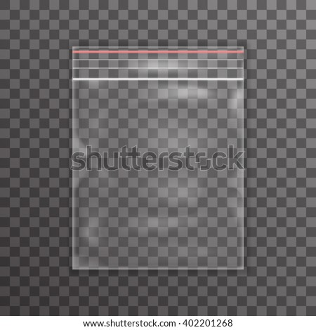 Plastic bag icon transparent reality background vector illustration - stock vector