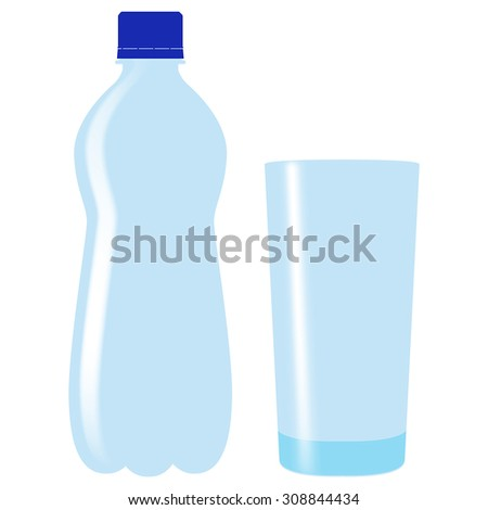 Plastic bottle of drinking water with glass. Vector Illustration isolated on white background.