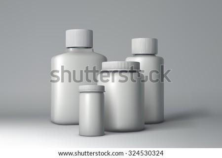 Plastic Bottle Packaging Mock-up. White Medical Container. Vector Illustration - stock vector