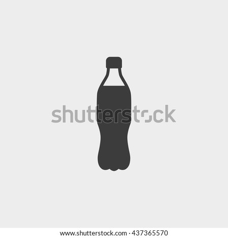 Plastic bottle with drink icon in a flat design in black color. Vector illustration eps10 - stock vector