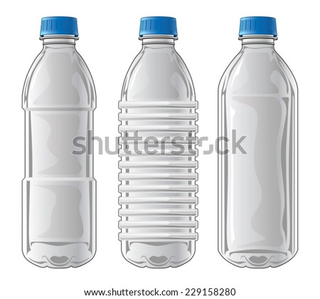 Plastic Bottles is an illustration of three types of clear plastic bottles used for water and other beverages. - stock vector