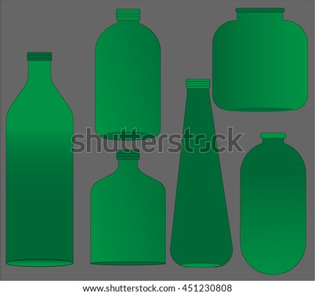 plastic bottles set green color
