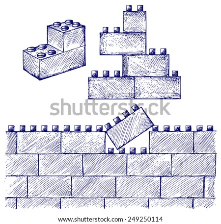 Plastic building. Doodle style - stock vector