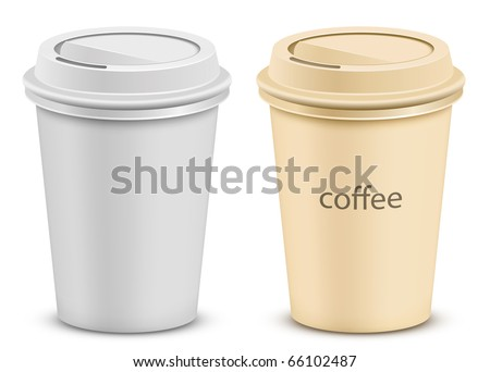 Plastic coffee cup with lid. Two color variations. - stock vector