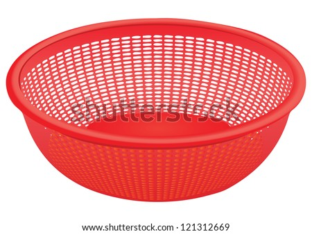 Plastic colander for kitchen work with vegetables. Vector illustration.