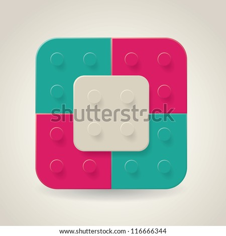 Plastic construction blocks - stock vector