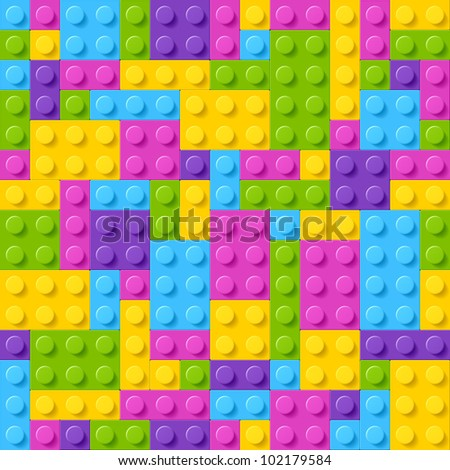 Plastic construction blocks. Seamless vector. - stock vector