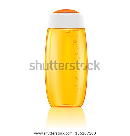 Plastic cosmetic bottle with bubbles in yellow shampoo, shower gel, lotion or bath foam. Ready for your design. Vector illustration. - stock vector