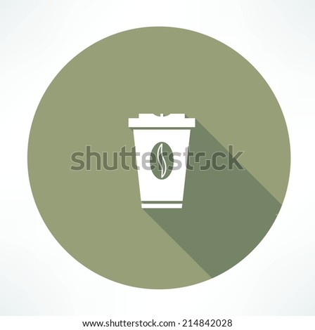 plastic cup with coffee icon - stock vector