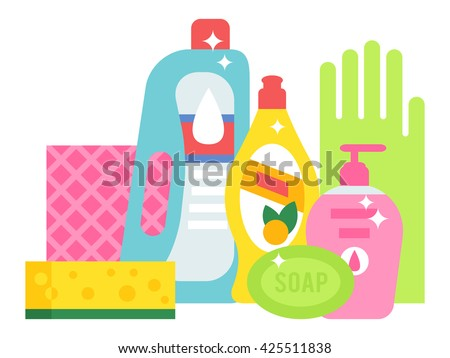 Plastic detergent household chemicals bottles on white. Cleaning products household chemicals and housework, equipment household chemicals domestic product liquid. Housekeeping disinfect tool. - stock vector