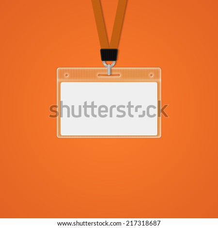 Plastic ID Badge with holder for name tag. vector illustrations