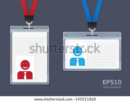 Plastic ID Badges. Vector illustration. - stock vector