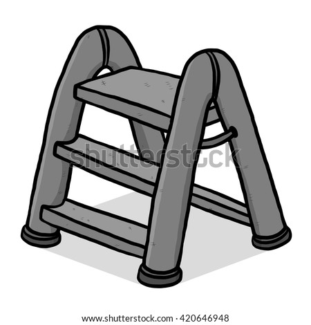 plastic ladder / cartoon vector and illustration, grayscale, hand drawn style, isolated on white background. - stock vector
