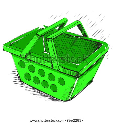 Plastic market shopping basket.