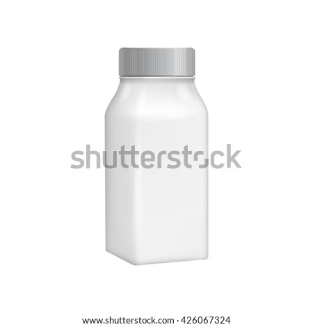 Plastic milk bottle template. Blank packaging isolated on white background.