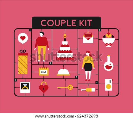 plastic model kit toy couple figure object vector illustration flat design