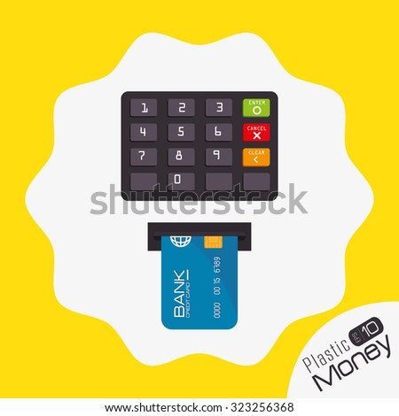 Plastic money and electronic payment design, vector illustration.
