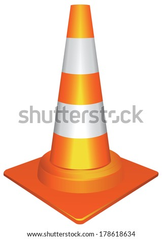 Plastic orange traffic cone to draw attention to the accident. Vector illustration. - stock vector