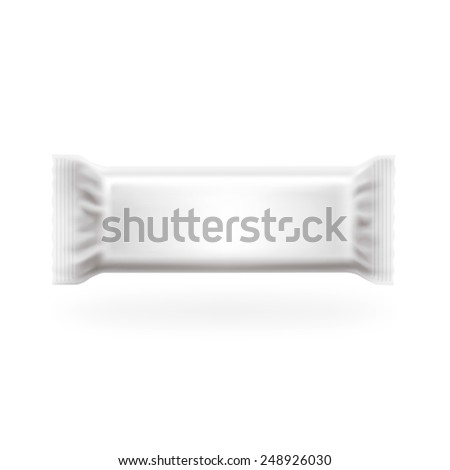 Plastic Package Bar Medium Cover Vector. Chocolate, wafers, sweets and candy pack. Easy editable in layers, high detailed with lights and shadows separated. Just put your graphic. - stock vector