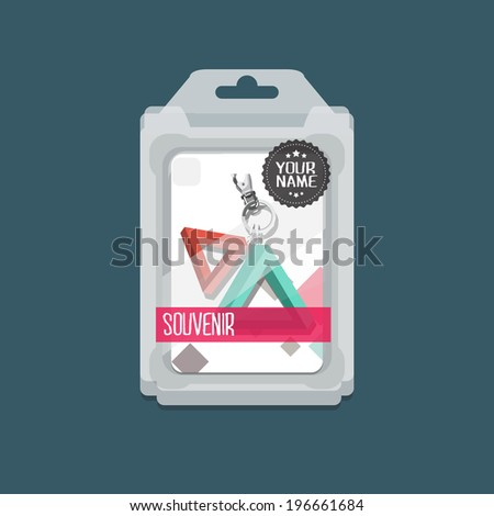 Plastic Packaging Boxes with key chain - vector mockup - stock vector