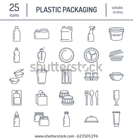 Plastic packaging disposable tableware line icons. Product container bottle packet canister  sc 1 st  Shutterstock & Plastic Packaging Disposable Tableware Line Icons Stock Vector HD ...
