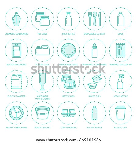 Plastic packaging disposable tableware line icons. Product packs container bottle packet  sc 1 st  Shutterstock & Plastic Packaging Disposable Tableware Line Icons Stock Vector ...