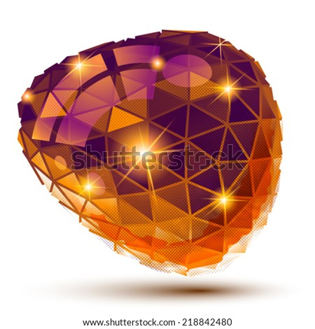 Plastic pixel dimensional object, unusual dotted geometric isolated element. - stock vector